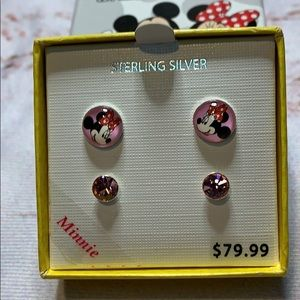 Minnie Mouse Sterling Silver Earring Set